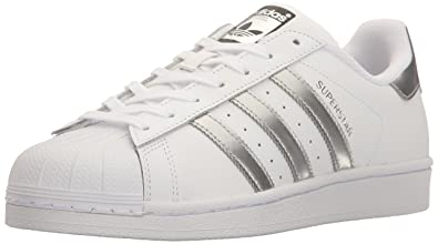 adidas Originals Women\u0027s Superstar Fashion Sneaker, White/Silver  Metallic/Black,5 B