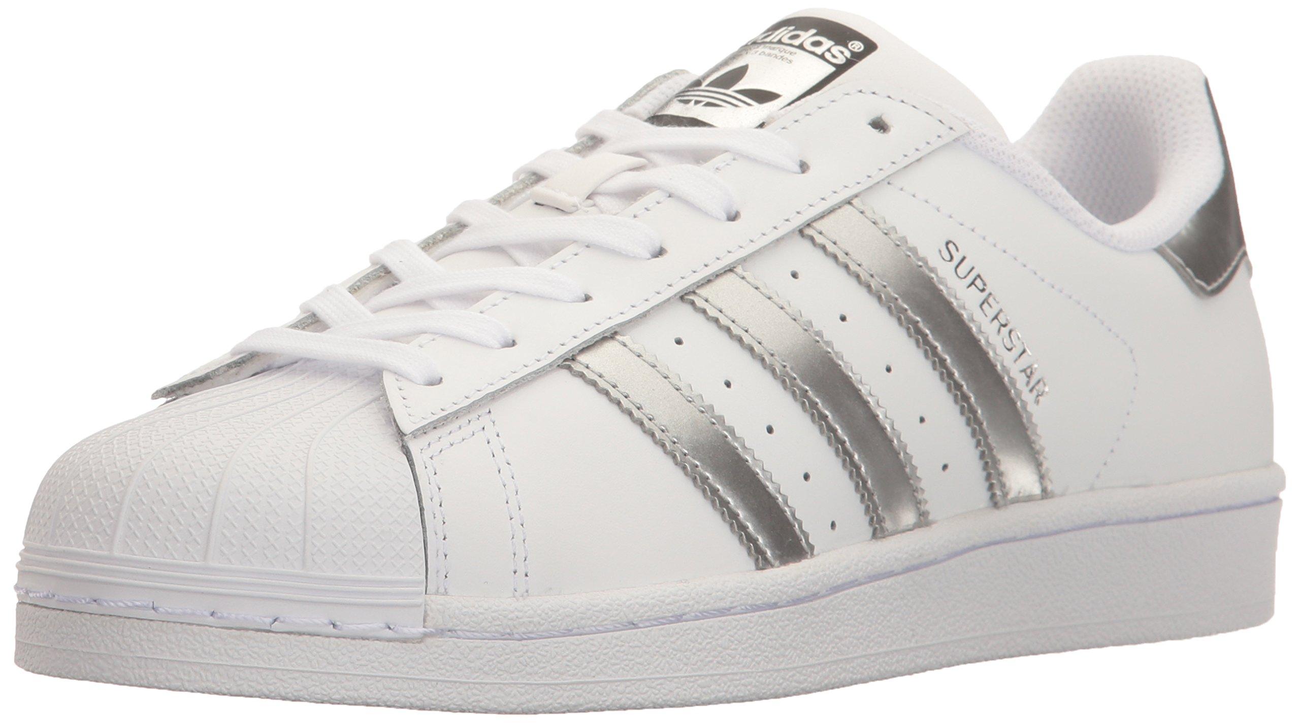 adidas Originals Women's Superstar Fashion Sneaker, White/Silver Metallic/Black,8.5 B(M) US