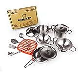 KIDAMI キッズ用調理器具セット おままごとおもちゃ ステンレス製 13点セット 食器セット 料理人ままごと 料理おもちゃ クッキングセット キッチンセット