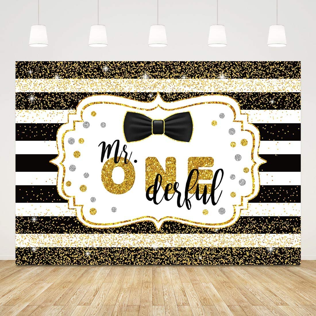 Happy 1st Birthday Backdrop Boy Gold Glitter Stripe First Birthday Background 7x5ft Mr. Onederful Backdrop for Birthday Party 1st Birthday Photo Booth Props Baby Shower Banner Cake Table Decors