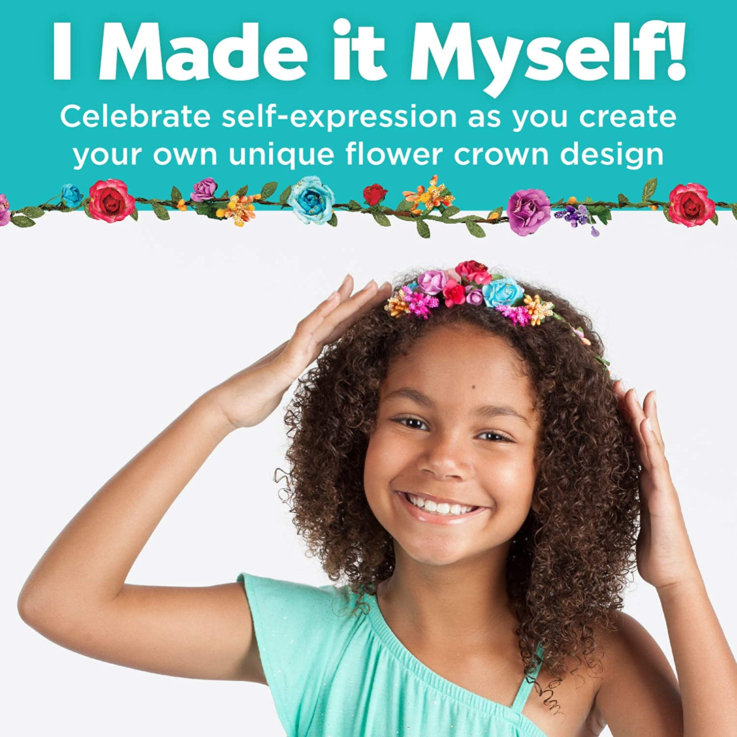 Indoor and Outdoor Creative Activities Ideal Gift for Kids Age 6+ Flower Crown 146 PCS Parts Children Hair Accessories DIY Kit Handmade Arts and Crafts Floral Crown Garland for Girls