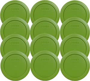 Pyrex 7200-PC Lawn Green Plastic Food Storage Replacement Lids - 12 Pack