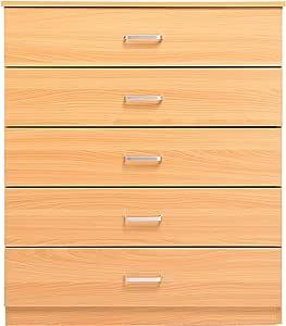 Homdox Cómoda Cajonera de Madera 5 Cajones Cómodas Dormitorio 73.5 x 35 x 89.5cm: Amazon.es: Hogar