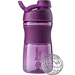 BlenderBottle SportMixer Twist Cap Tritan Grip Shaker Bottle, 20-Ounce, Plum