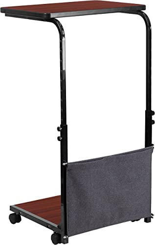 Flash Furniture Mobile Sit-Down, Stand-Up Mahogany Computer Ergonomic Desk with Removable Pouch Adjustable Range 27 – 46.5