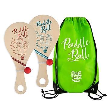 Amazon.com: Juguete de bola de pala de madera (juego de 2 ...