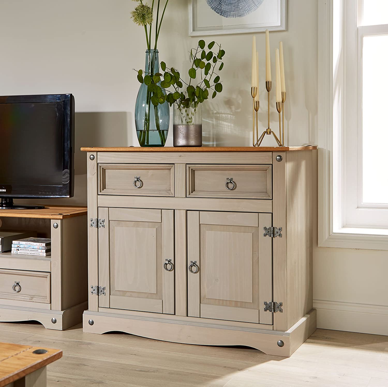 Home Source Corona Grey Storage Cupboard Solid Pine 2 Drawer 2 Door Wooden Mexican Cabinet BFW SIDSMLGRY