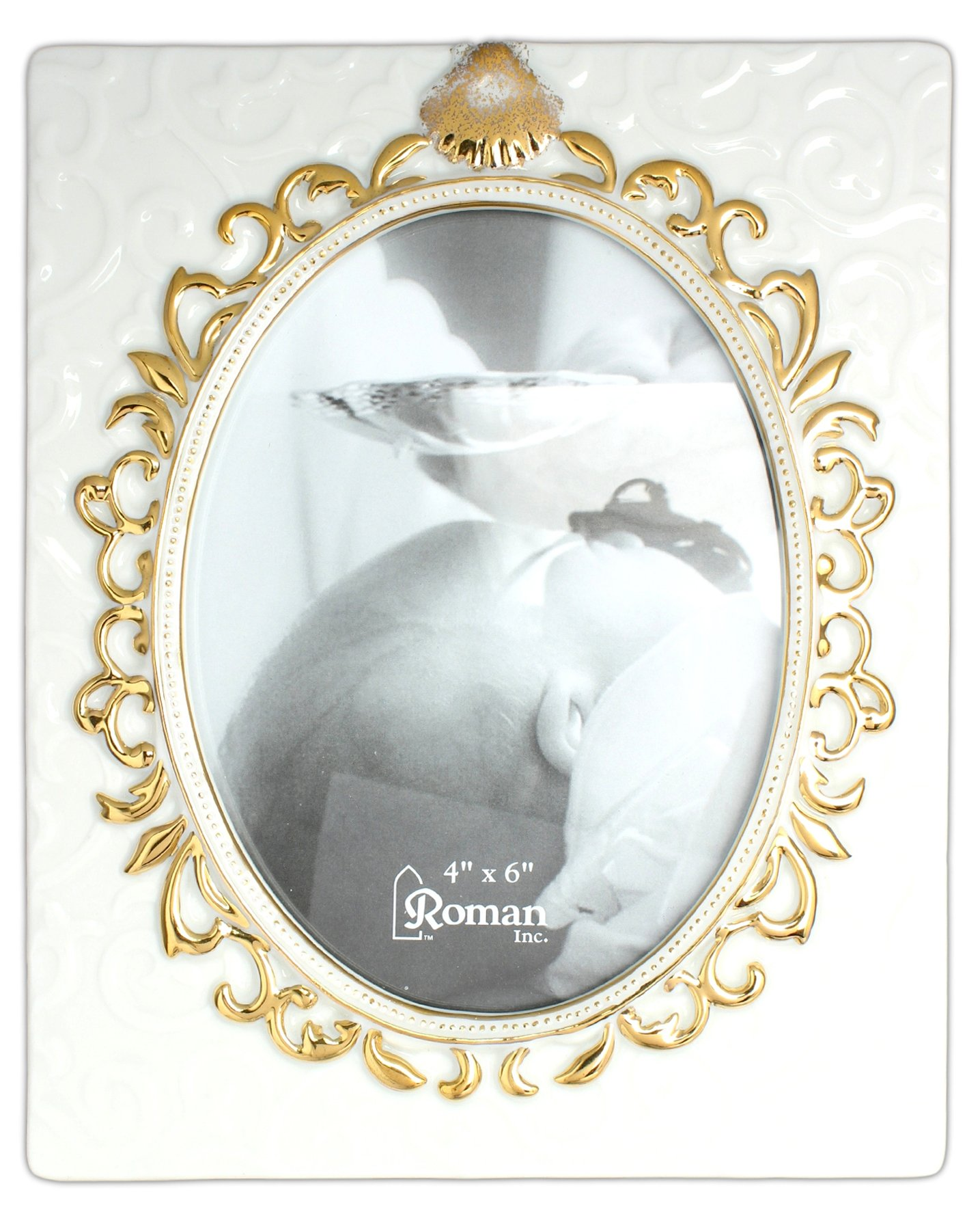 Roman 7'' x 6'' Baby Baptismal Picture Frame Holds 4'' x 6'' Photo