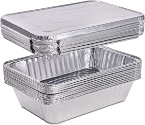 2.25 Pounds Disposable Aluminum Foil Pans with Lids | Oblong Cookware Pans Best Use for Baking, Meal Preparations, Cooking, Roasting, Grilling, Toasting | With Foil Lids | 10 Pack