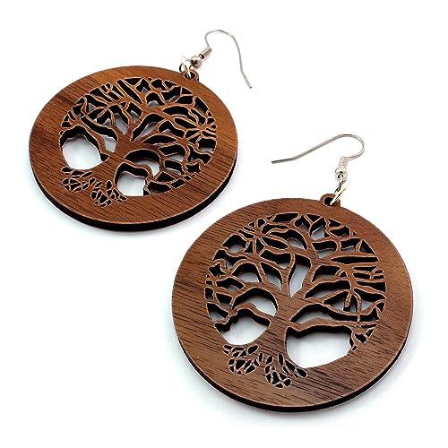 Tree Of Life Earrings Made Of Sustainable Walnut Wood Large Wooden Hook Dangle Drop Earrings