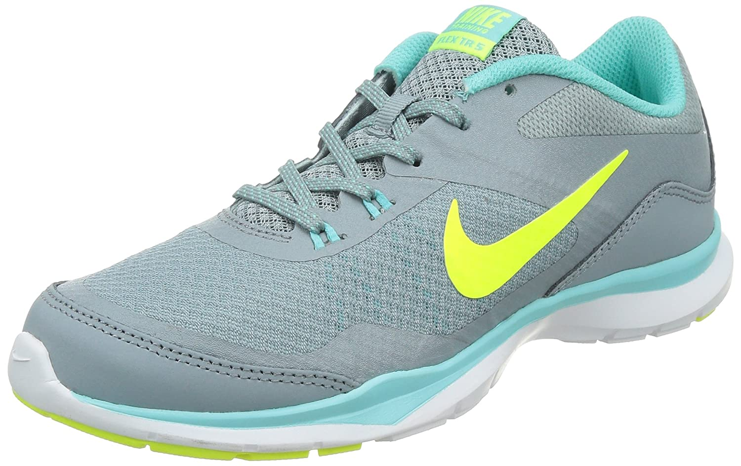 Nike Women's Flex Trainer 5 Shoe B00O1F7E8G 9 B(M) US|Dove Grey/Light Aqua/Teal Tint/Volt