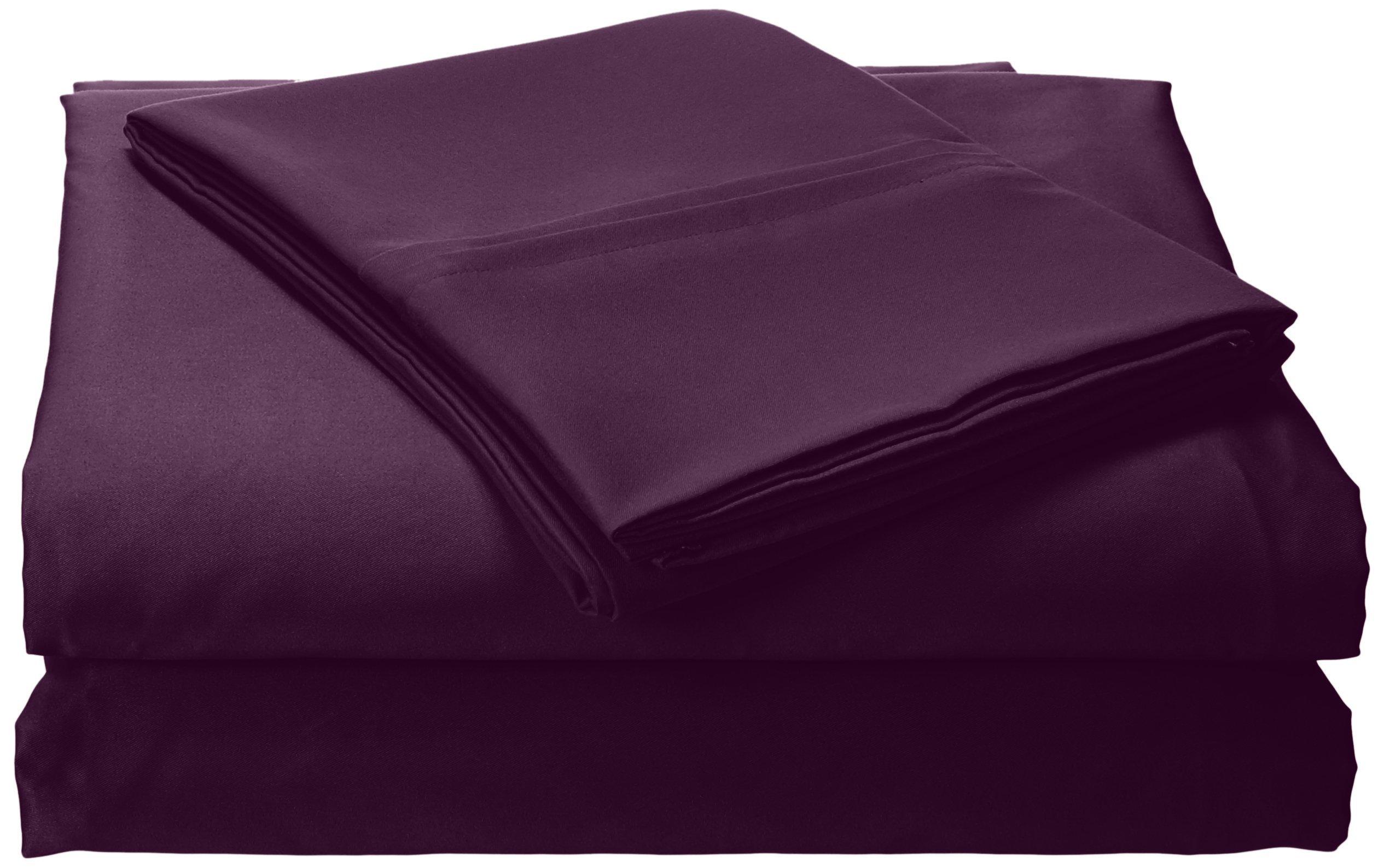 Tribeca Living Solid Deep Pocket Sheet Set, Queen, Purple