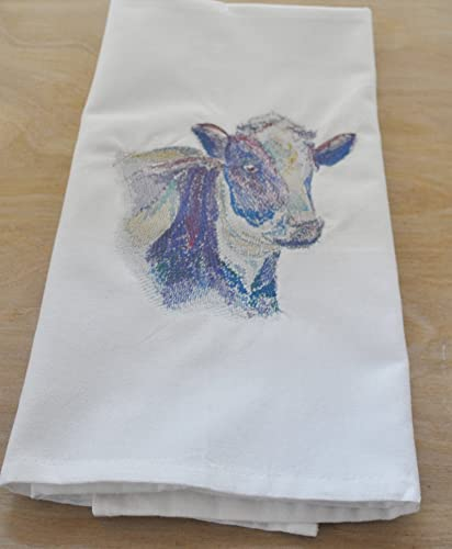 Amazon Watercolor Cow Embroidery Design On White Cotton Kitchen