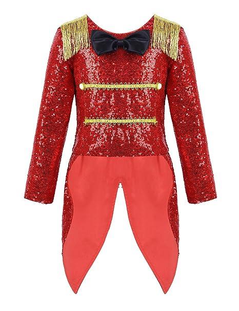 YiZYiF Disfraz Circo Niños Niñas Chaqueta Domador Roja Cosplay ...