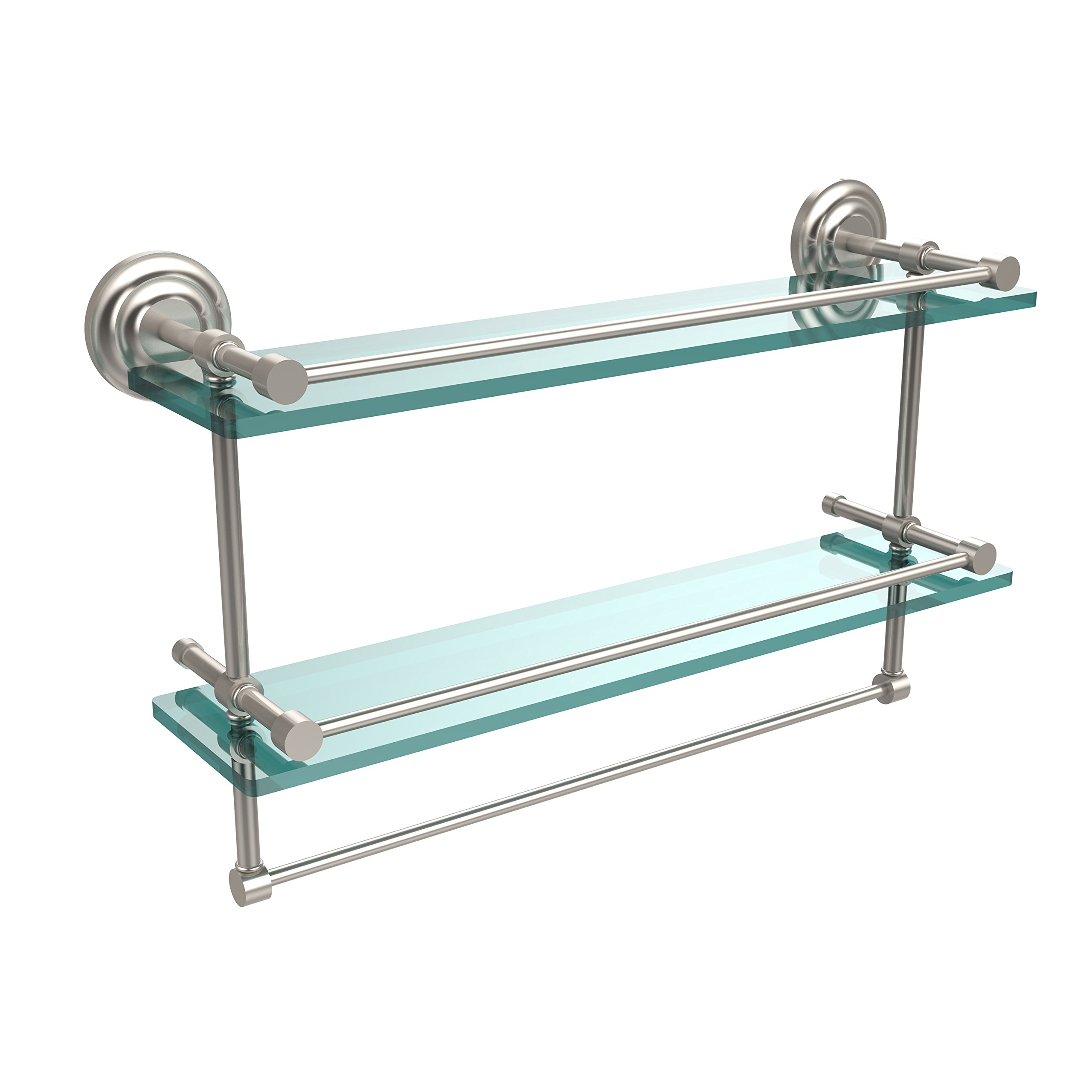 Allied Brass QN-2TB/22-GAL-SN 22-Inch Gallery Double Glass Shelf with Towel Bar, Satin Nickel