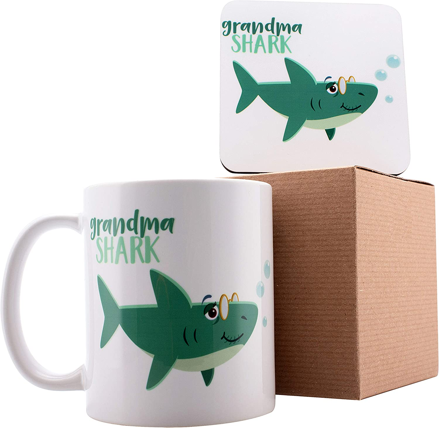 "Grandma Shark Coffee Mug with Matching Coaster, Shark Family Coffee Mugs - 11oz Ceramic Mugs - Birthday Gifts, Mother""s Day Gifts, Fathers Day Gifts, Christmas Gifts"