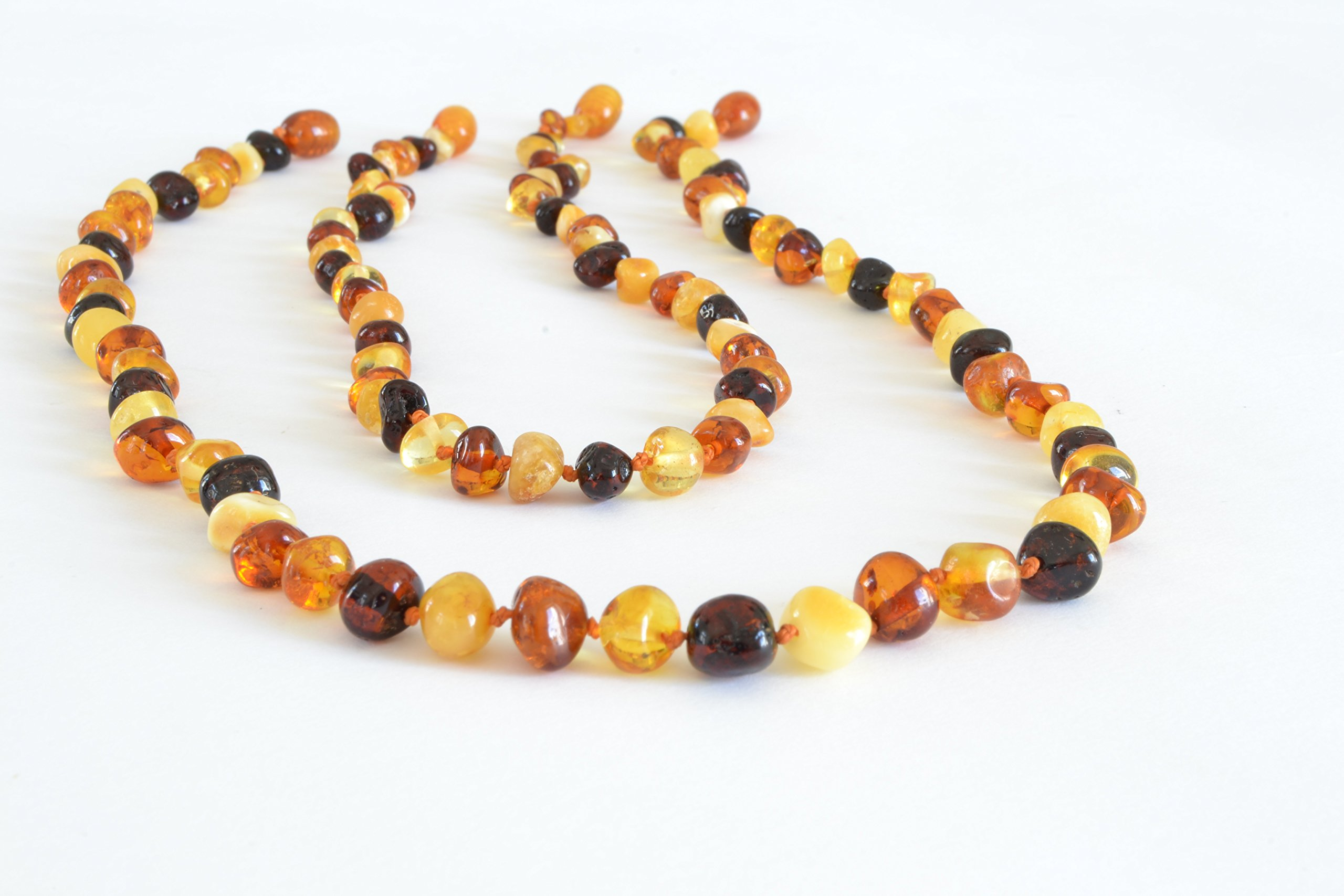 The Art of Cure Original Baltic Amber Necklace set for Mom & Child - Polished Handmade (MULTICOLORED) Unisex - 17in & 12.5 Inches by The Art of Cure