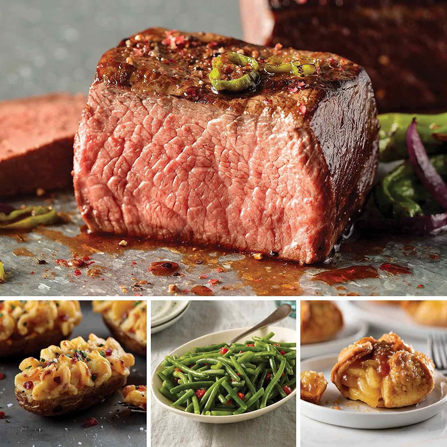 Omaha Steaks the Holiday Helper (14-Piece with Top Sirloins, Stuffed Baked Potatoes, Green Beans, and Individual Caramel Apple Tartlets)