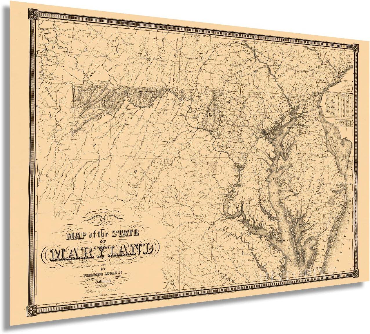 Historix Vintage 1841 Maryland State Map - 24x36 Inch Vintage Map of the State of Maryland Wall Art - Vintage Maryland Home Decor Poster Print - Showing Virginia Washington DC Chesapeake Bay (2 Sizes)