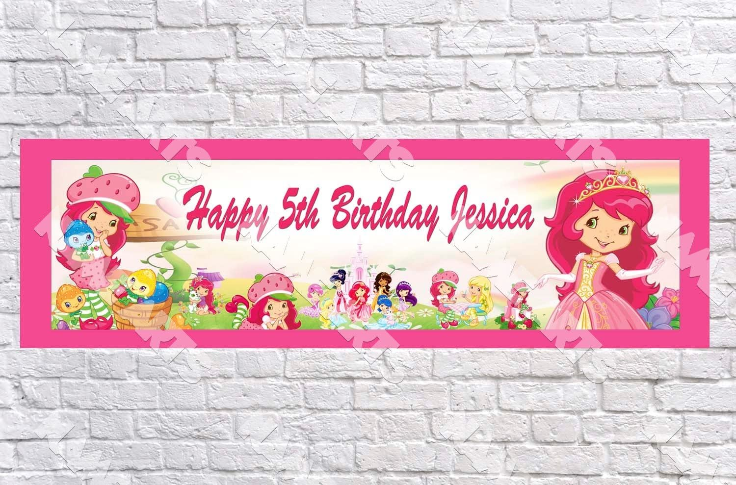 Personalized Strawberry Shortcake Name Poster with Border Mat Art Decor Banner