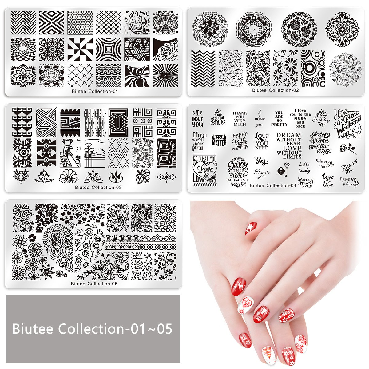 Biutee 19pcs Nail Stamp Plates set 15 plate 1Stamper 2Scraper 1storage bag Nails Art Stamping Plate Scraper Stamper Set Leaves Flowers Animal Nail plate Template Image Plate : Beauty
