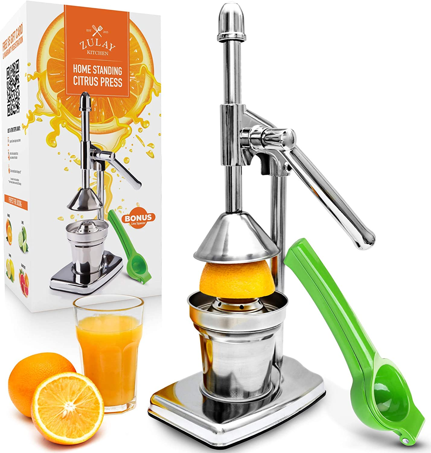 Zulay Professional Citrus Juice Press - Small Manual Juice Press and Orange Squeezer with Bonus Metal Lime Squeezer, Premium Heavy Duty Mini Orange Juice Press, Lemon Squeezer & Lime Squeezer Stand (Renewed)