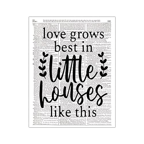 Love Grows Best In Little Houses Sign Kitchen Wall Decor Inspirational Wall Art Gift For Mom Housewarming Gift Home Wall Decor