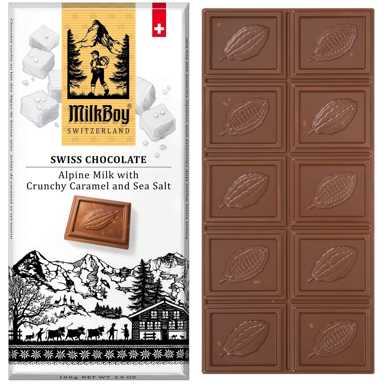 Milkboy Swiss Chocolates - Alpine Milk Chocolate Bars with Crunchy Caramel & Sea Salt (5 Pack)