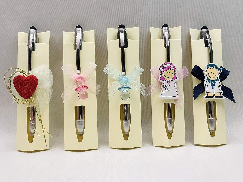 Bolígrafos GRABADOS para invitados a boda, bautizo o comunión (pack de 15 unidades) Boli+puntero táctil móvil+linterna PERSONALIZADO y decorado.