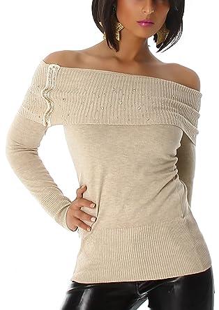 Jela London Damen Pullover Longsleeve Langarmshirt Carmen Ausschnitt Strass  Applikation Glitzer Slim trägerlos schulterfrei Reißverschluss, ... eea2f559c1