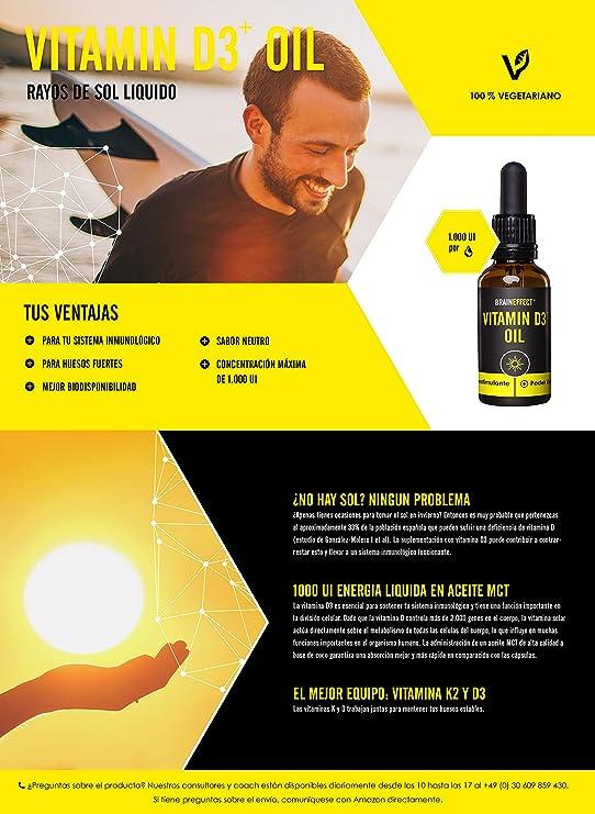 BRAINEFFECT Vitamina D3 y K2 líquida | 1000 UI / 25 µg por gota | 20 ml | Disuelta en aceite de MCT | Vegetariano | Hecho en Alemania: Amazon.es: Salud y ...