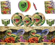ASIN Artículos para fiestas de dinosaurios Celebraciones de feliz cumpleaños de Dino Blast 16 invitados: vajilla de dinosaurios, globos de Dino ...
