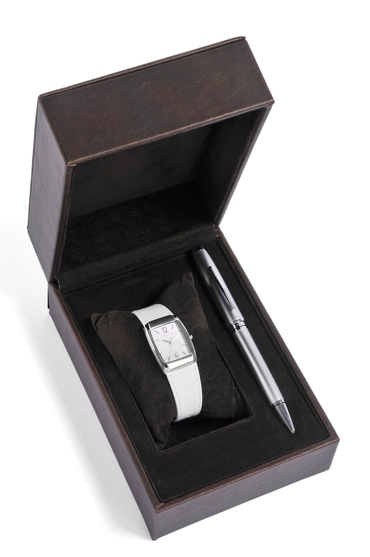Cross Geschenk-Set Women'Quarz-Uhr mit weißem Zifferblatt Analog-Anzeige und weiße Lederband CR4008