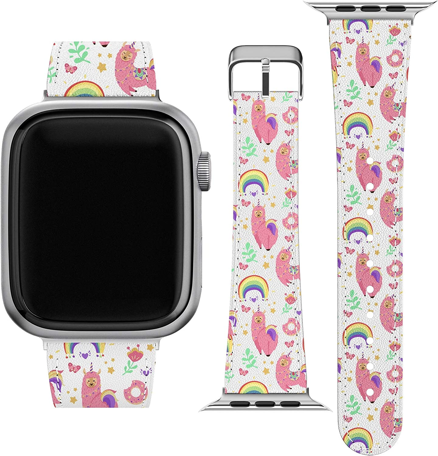 Lex Altern Band Compatible with Apple Watch Series 6 SE 5 4 3 2 1 38mm 40mm 42mm 44mm Stylish Rainbow Pink Llama Durable Unicorn Donut Wristband Cute Alpaca Vegan Leather Thin Replacement Strap wh305