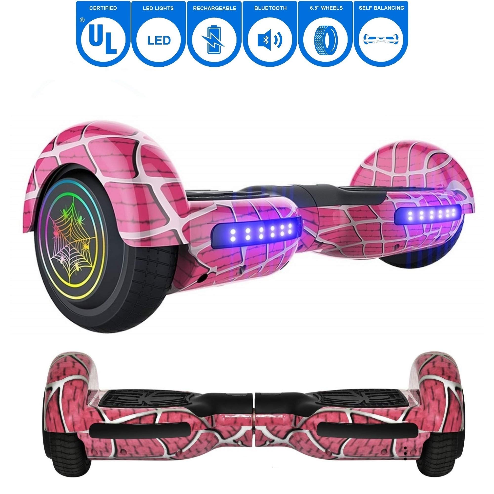 NHT 6.5'' inch Aurora Hoverboard Self Balancing Scooter with Colorful LED Wheels and Lights - UL2272 Certified Carbon Fiber/Spider/Built-in Bluetooth Speaker Available (Spider Pink)