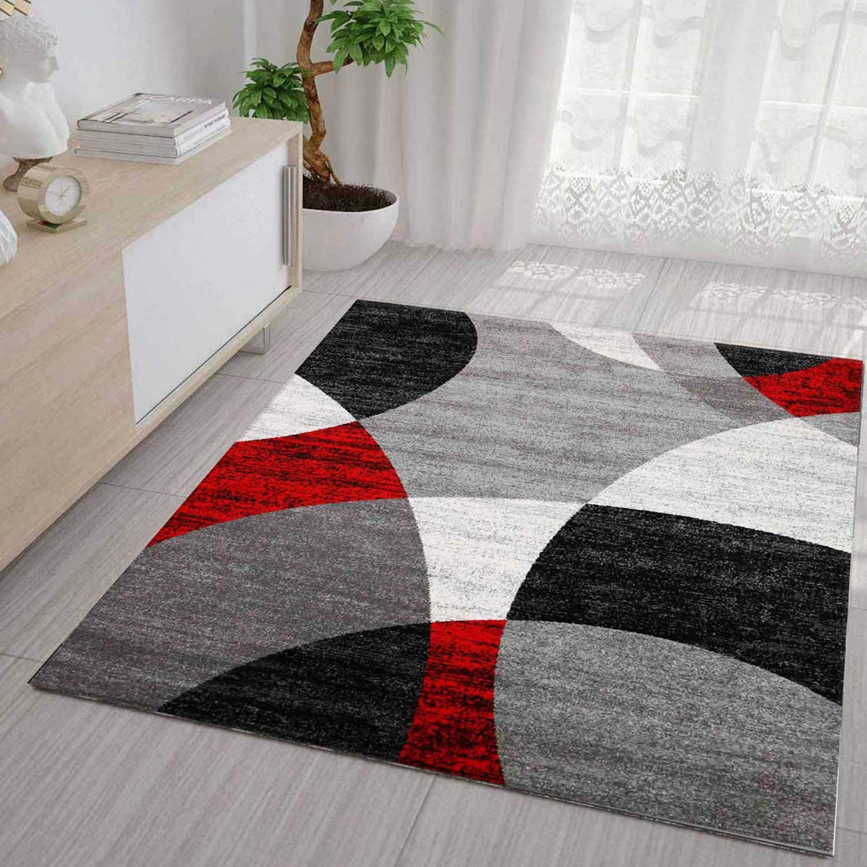 VIMODA VIMODA VIMODA Roter Teppich Wohnzimmer Schlafzimmer Geometrisches Kreismuster Meliert in Grau Weiß Schwarz und Rot - ÖKO TEX Zertifiziert, Maße 240x340 cm B01M1OW78B Teppiche 8736f1