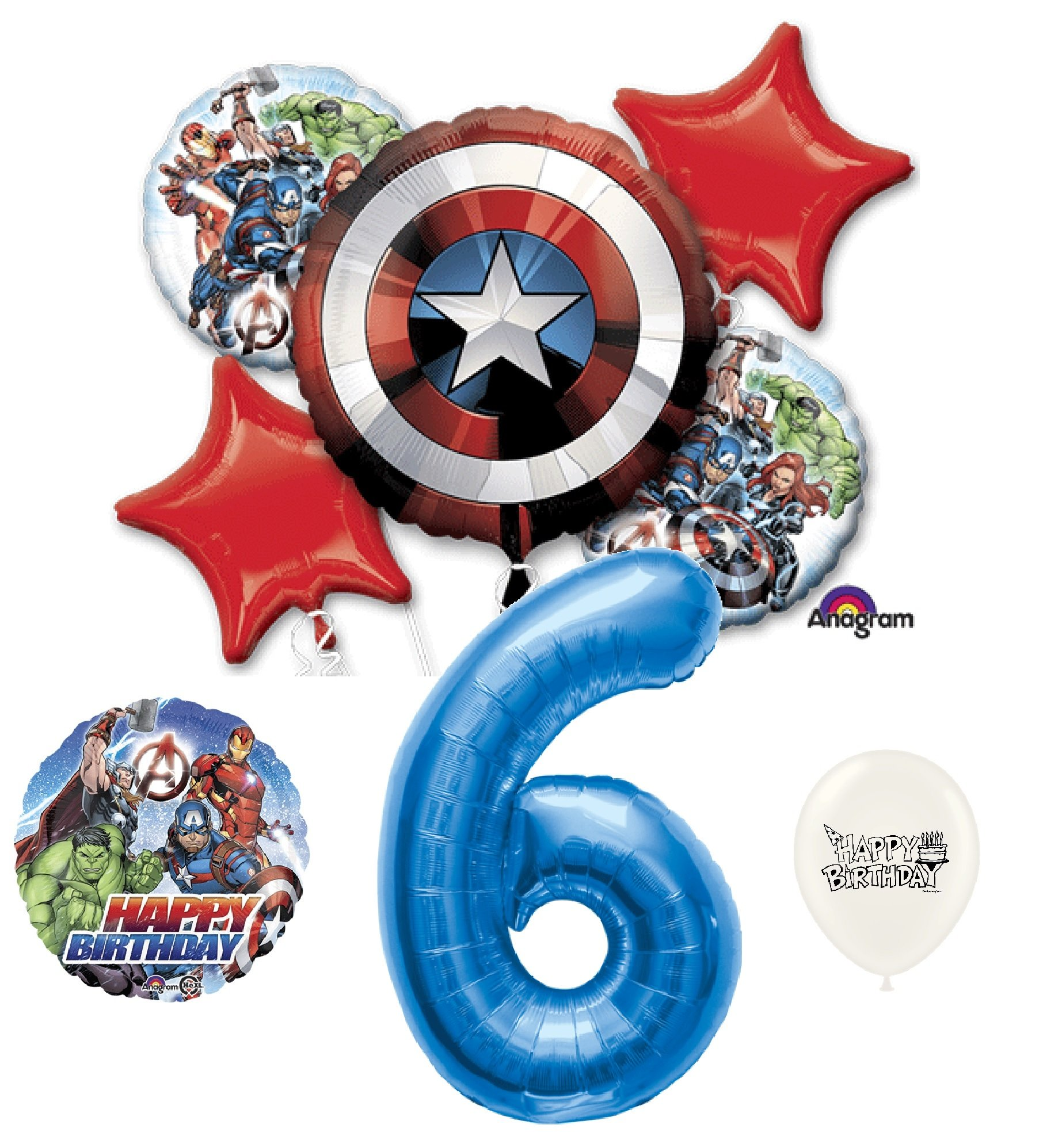 6th Birthday Blue Number Avengers Captain America Shield Balloons Bouquet Bundle