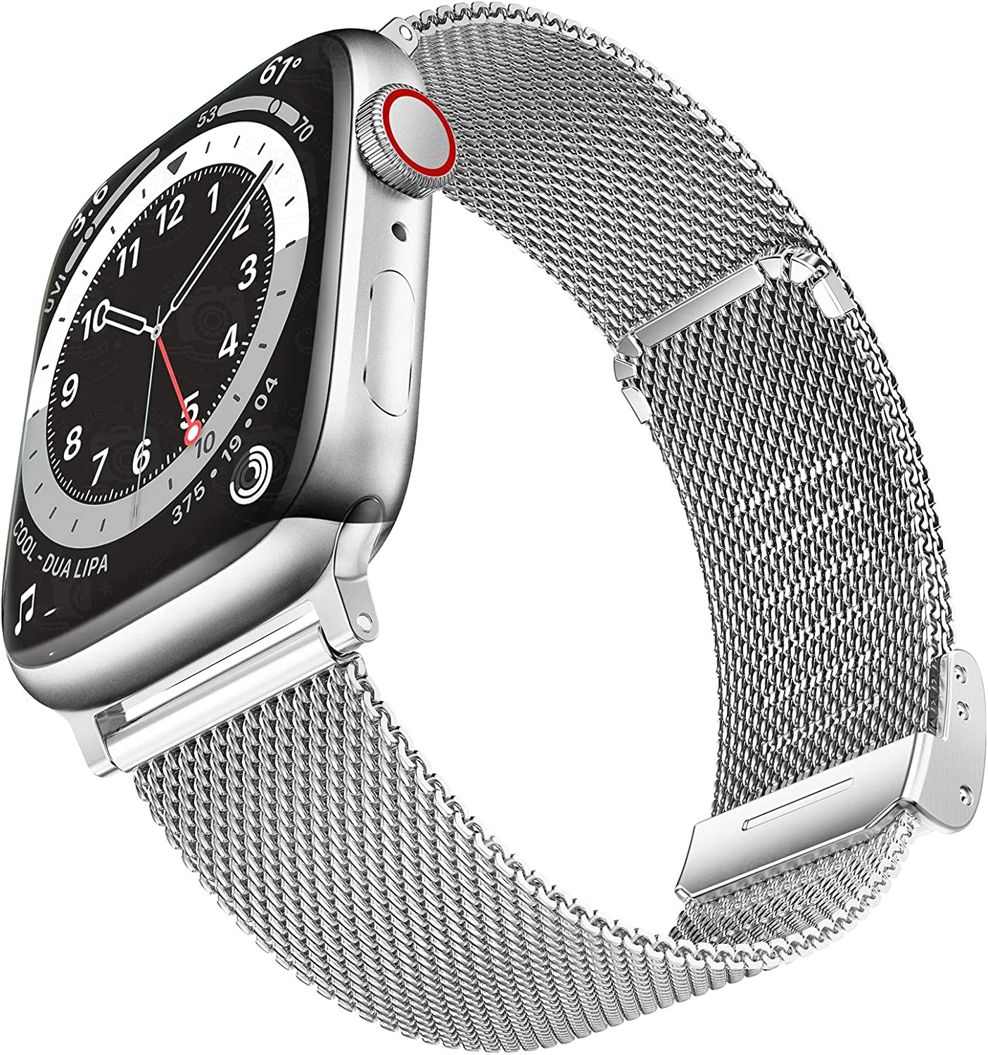 Geoumy Bands Compatible with Apple Watch Band 42mm 44mm, Stainless Steel Milanese Mesh Loop Replacement Men Women Strap for iWatch Series SE/6/5/4/3/2/1,Silver