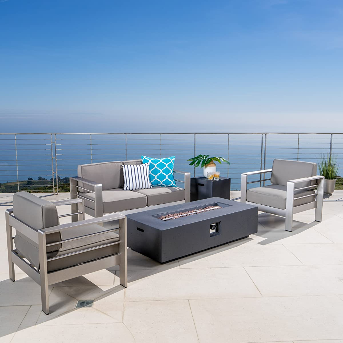 Crested Bay Patio Furniture ~ Outdoor Aluminum Sectional Sofa Set Dark Grey Fire Table