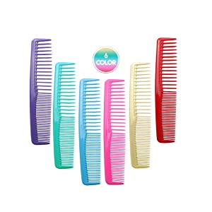 QITIMIR Colorful Hair Comb Set 6 Colors in Pack, Hair Combs For Women and Men and Kids, Detangler Comb, Wide Tooth Combs, Ideal For Cutting, Red, Blue, Green, Purple, Pink and Yellow