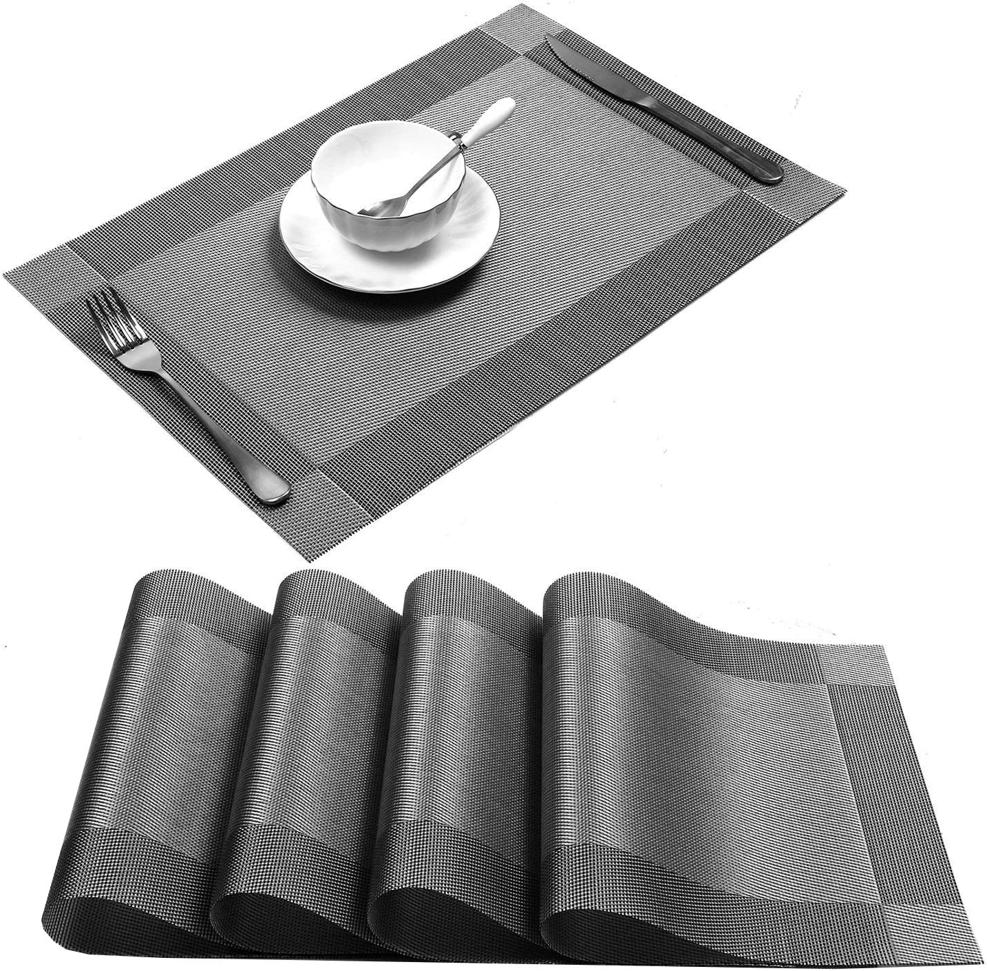 U'Artlines Placemat, Crossweave Woven Vinyl Non-Slip Insulation Placemat Washable Table Mats (Grey, 4pcs placemats): Home & Kitchen