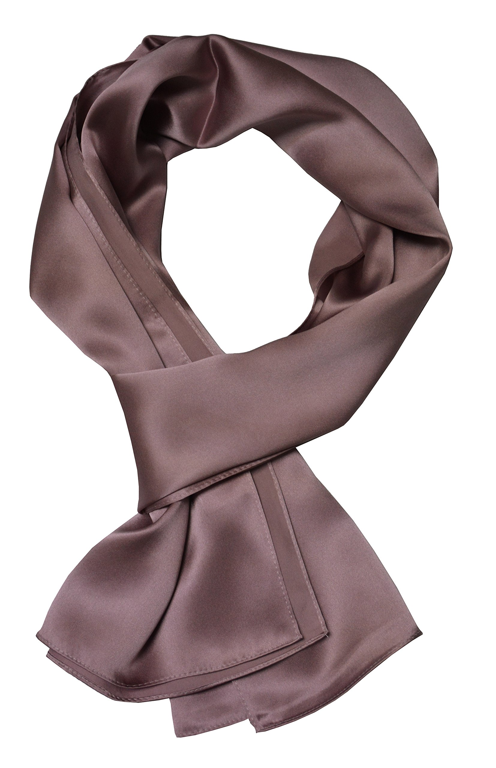 CameoBrown 70'' x 21'' 100% Silk Scarf, Fashion for Women or Men Perfect Gift solid Color Accessory