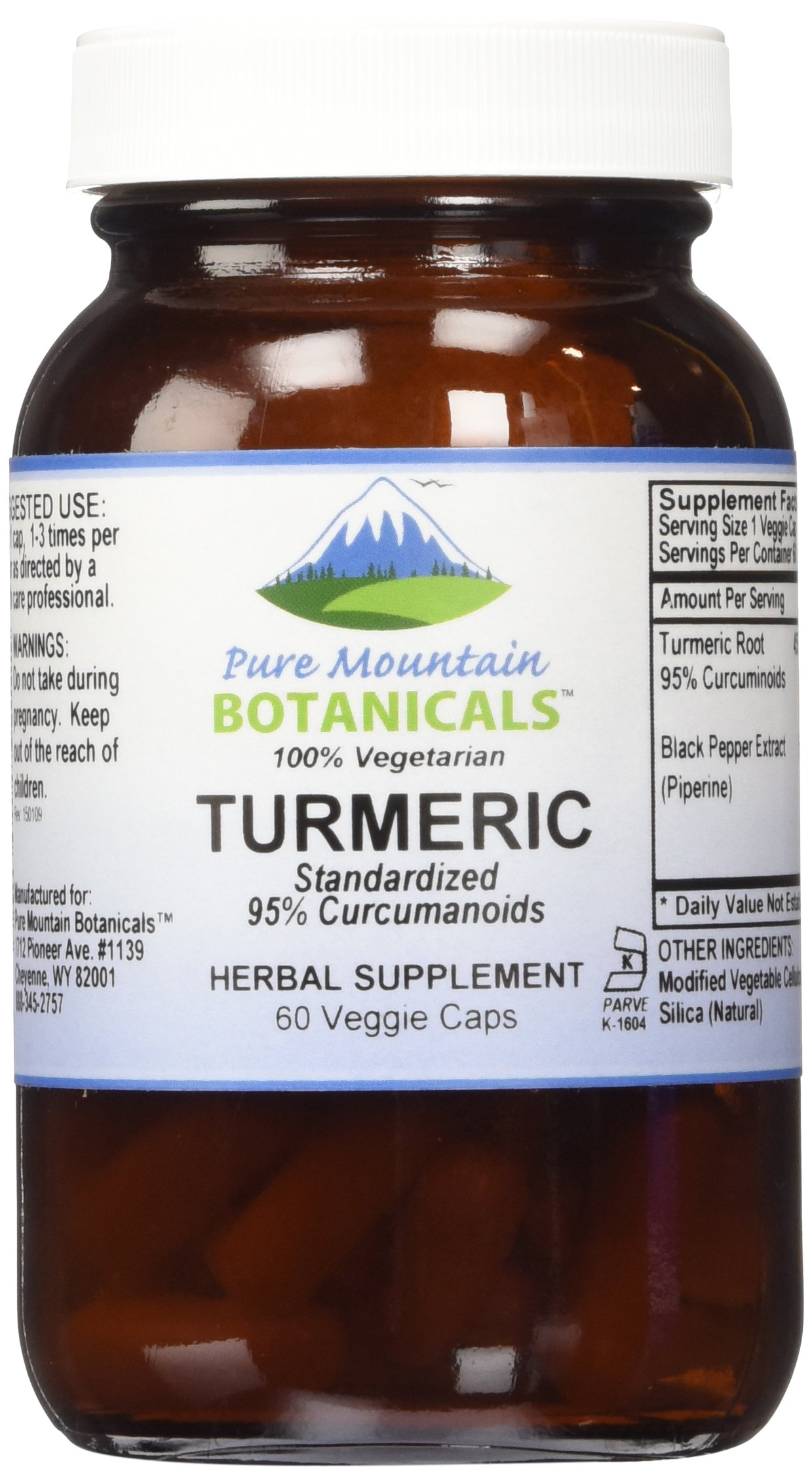 High Potency Turmeric with Black Pepper Extract 60 Kosher Veggie Capsules 450mg Turmeric Root Powder