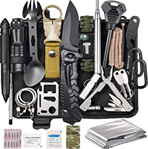 Lchahsprn Survival Gear Kit 37 in 1, Emergency EDC Survival Tools SOS Earthquake Aid Equipment, Cool Top Gadgets Valentines Birthday Gifts for Men Dad Him Husband Boyfriend Teen Boy Camping Hiking
