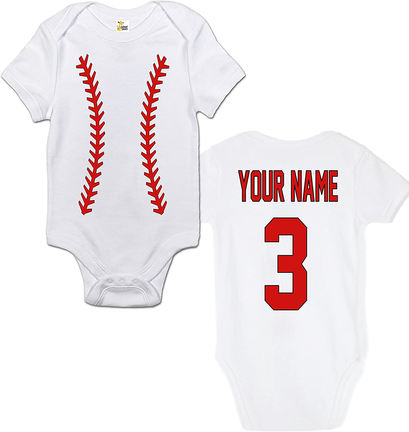 Laughing Giraffe Baseball Custom Personalized One-Piece Baby Bodysuit with Your Name and Number