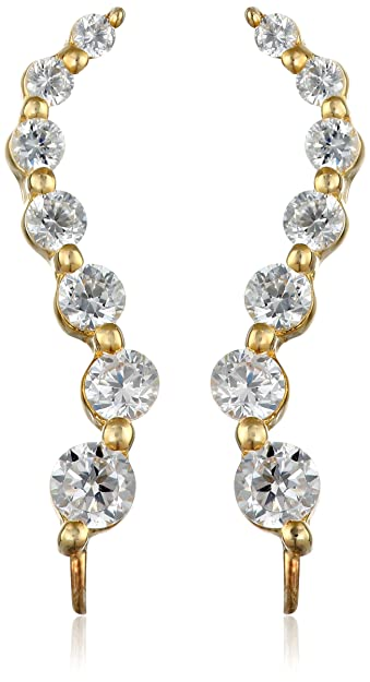 6dae19811 The Ear Pin Cubic Zirconia and Gold-Plated Sterling Silver Earrings