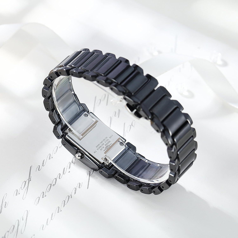 Time100 Montre à Quartz Femme étanche incrustée de Strass sculptée Papillon Calendrier Mode de Bracelet céramique Blanc