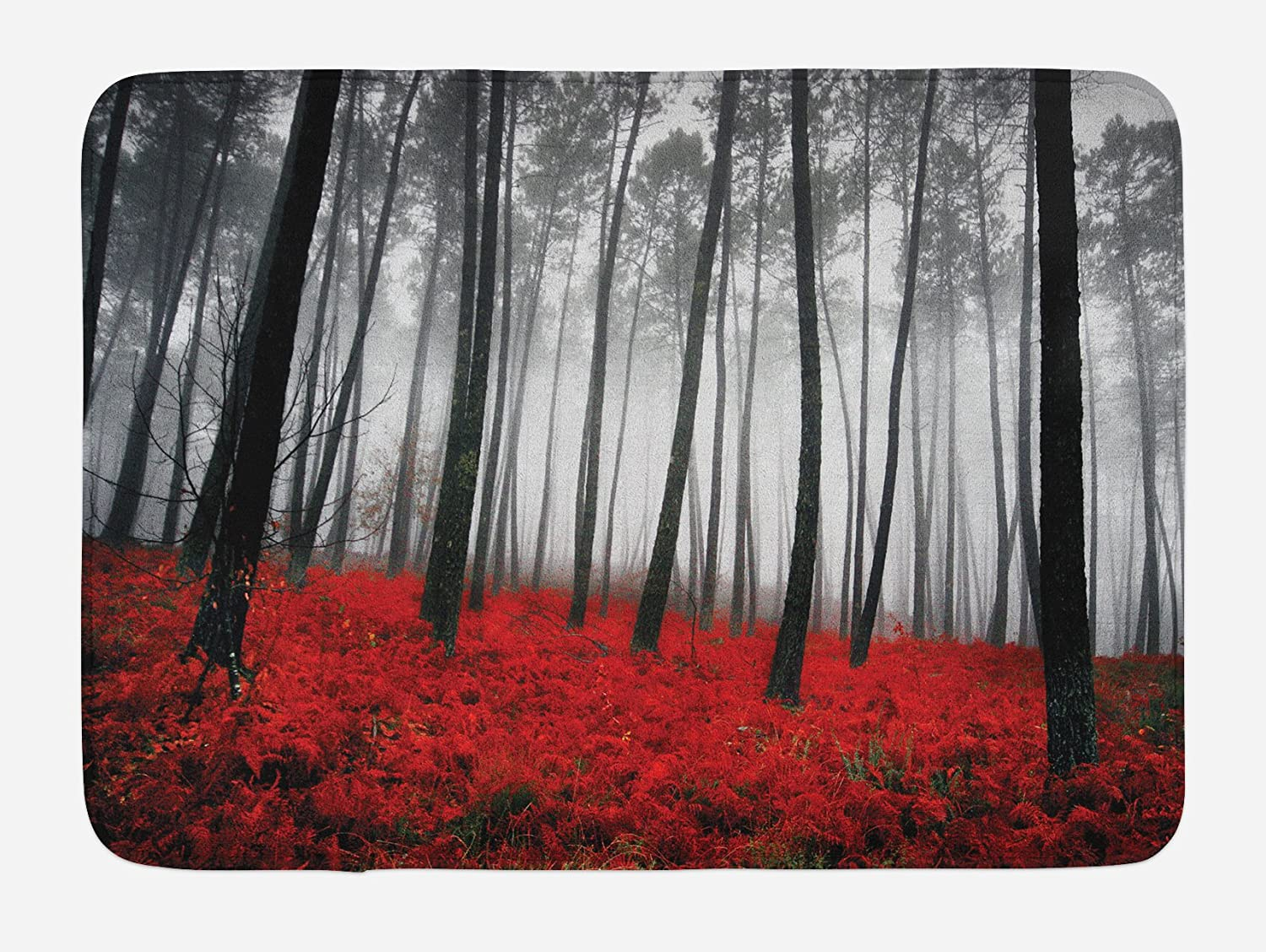 Ambesonne Forest Bath Mat, Mystical Fantasy Woodland Under Heavy Fog Tall Trees Bushes Contrast Colors, Plush Bathroom Decor Mat with Non Slip Backing, 29.5