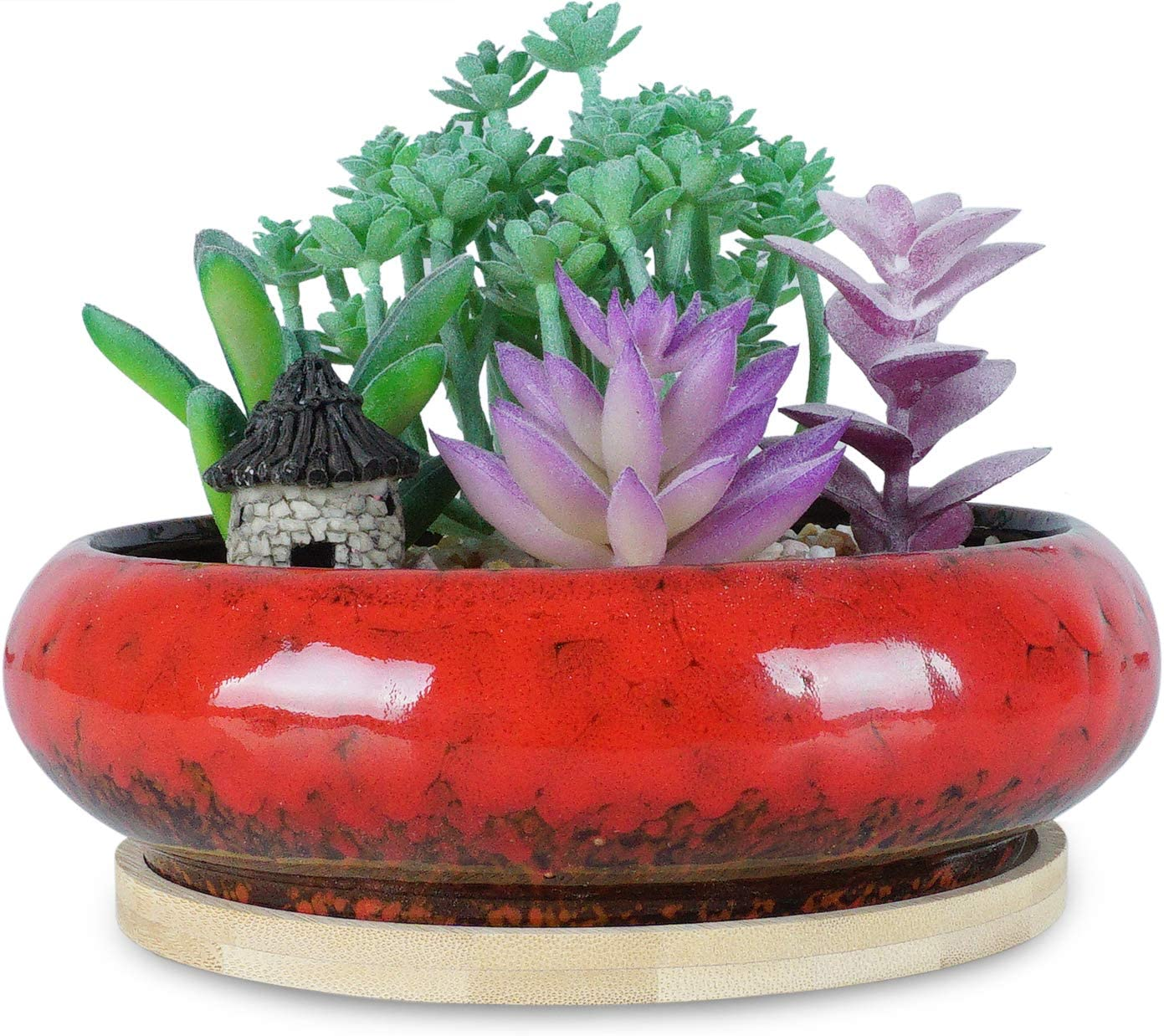 ARTKETTY 7.3 inch Round Succulent Planter Pots with Drainage Hole Bonsai Pots Garden Decorative Cactus Stand Ceramic Glazed Flower Container Bowl Red, with Bamboo Tray