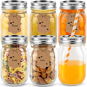 Mason jars 16 oz, Tomic glass regular mouth canning jars with sealed and straw lids included DIY tags and bands, 25pcs of colorful straws ideal for Meal Prep, Food Storage, Canning, Drinking
